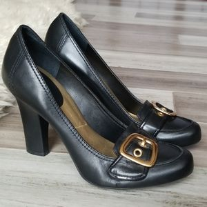 BCBGirls Buckle Front Block Heel Leather Loafers